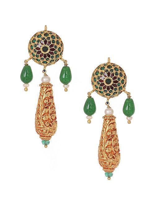 Green-Red Gold Tone Jadau Earrings
