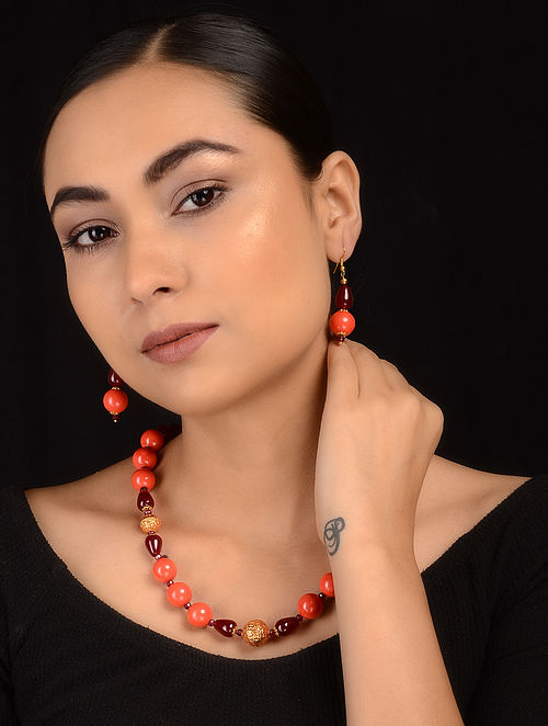 Orange-Maroon Gold Tone Necklace with Earrings (Set of 2)