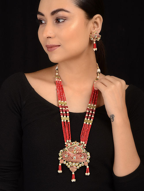 Red Gold Tone Kundan Inspired Meenakari Necklace with Earrings (Set of 2)