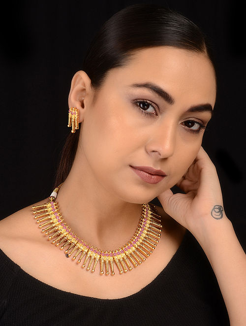 Pink Gold Tone Necklace with Earrings (Set of 2)