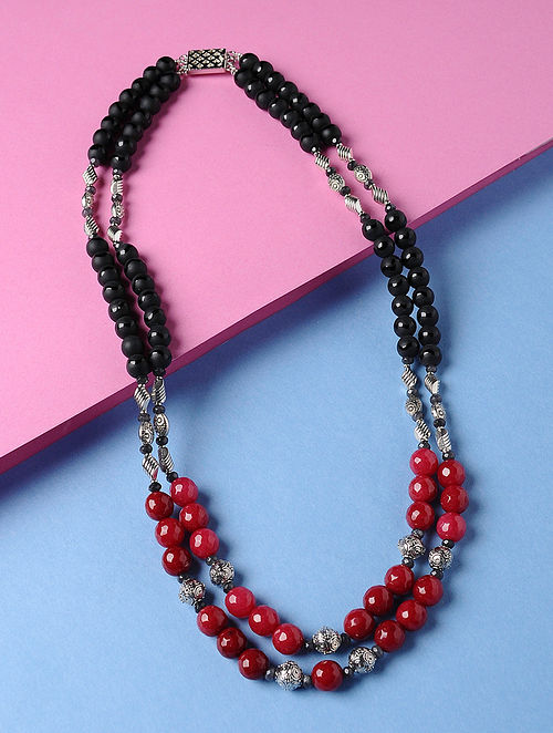 Black-Red Agate Beaded Necklace