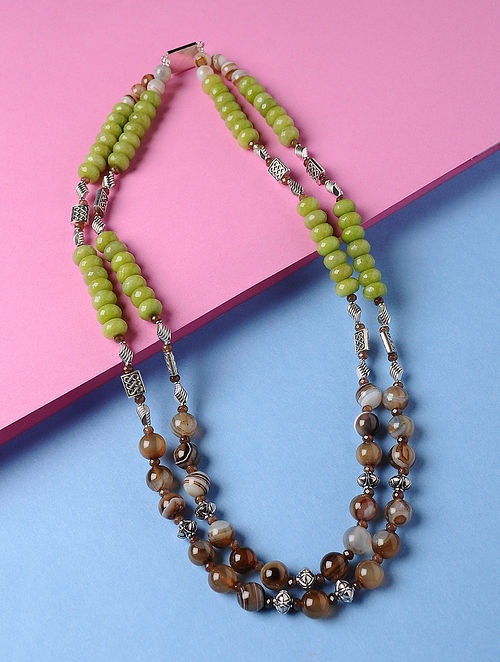 Green-Brown Agate and Crystal Beaded Necklace
