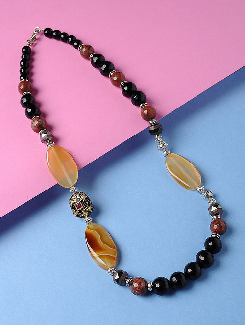 Black-Brown Onyx and Agate Crystal Beaded Necklace