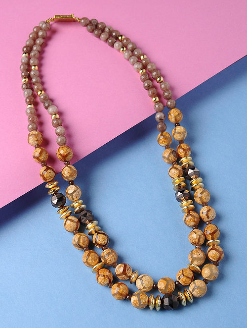 Yellow-Brown Rough Agate Matt Crystal Beaded Necklace