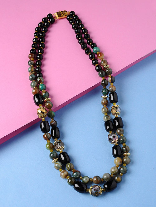 Green-Brown Banded Agate Onyx and Rainbow Crystal Beaded Necklace