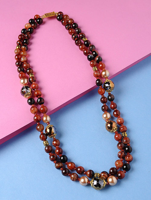 Brown-Black Banded Agate Shell Pearl and Rainbow Crystal Beaded Necklace