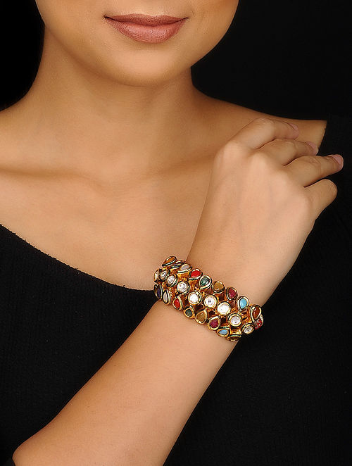 Multicolored Gold Plated Kundan Inspired Navratan Bracelet