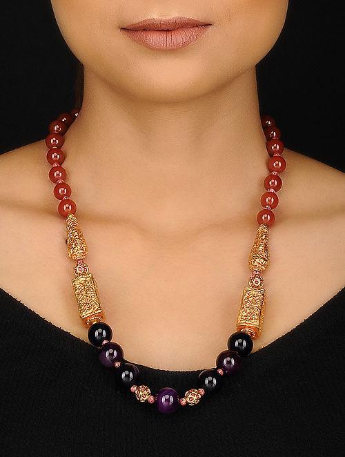 Purple Rust Gold Tone Agate Jadau and Geru Beaded Necklace