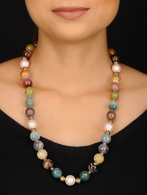 Multicolored Agate and Shell Pearl Beaded Necklace