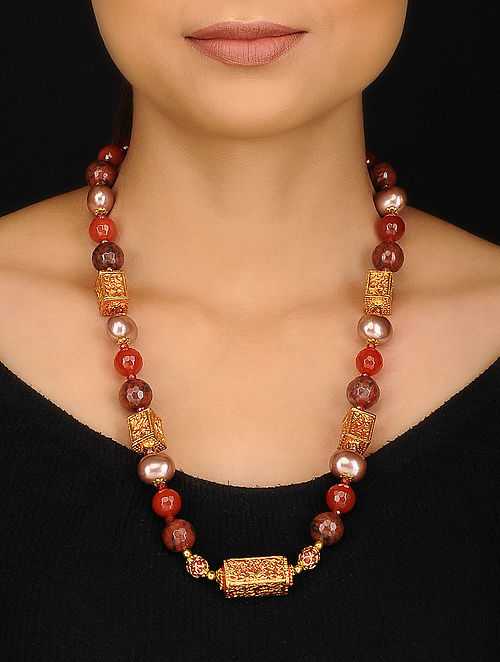 Rust Brown Gold Tone Multistone Necklace