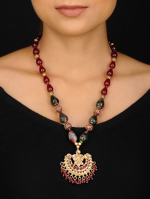 Red Green Gold Tone Kundan Inspired Jade and Onyx Beaded Necklace
