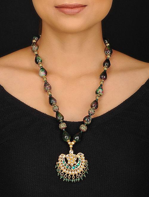 Green Gold Tone Jadau and Jade Beaded Necklace