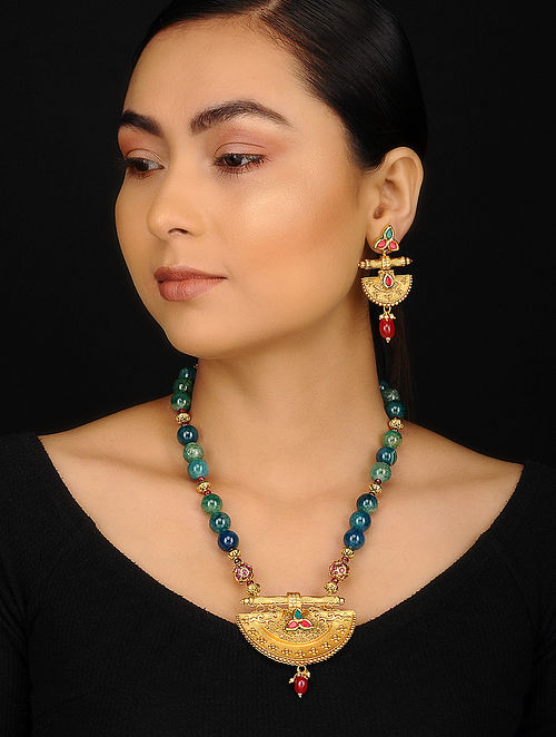Blue Green Gold Plated Agate and Jadau Beaded Necklace with Earrings (Set of 2)