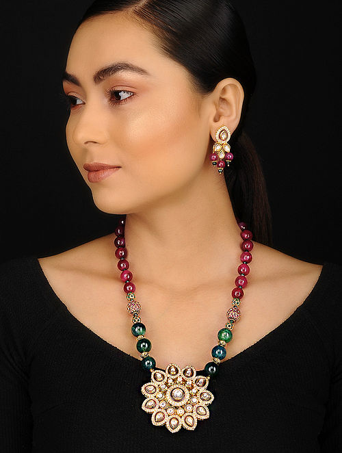Red Green Gold Plated Kundan Inspired Jade Agate and Jadau Necklace with Earrings (Set of 2)