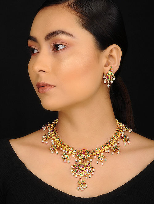 Red Green Gold Plated Jadau Necklace with Earrings (Set of 2)