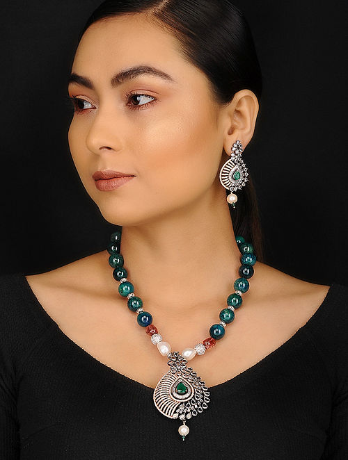 Green Baroque Pearl Jade Quartz and Zirconia Beaded Victorian Necklace with Earrings (Set of 2)