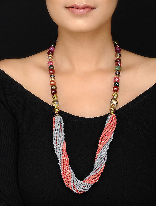 Multicolored Agate and Crystal Beaded Necklace