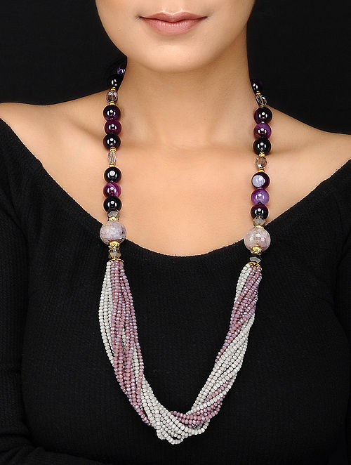 Agate and Amethyst Beaded Necklace