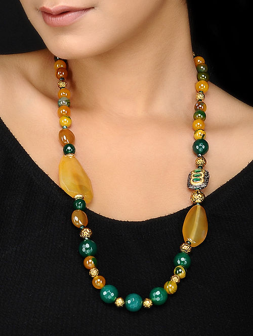 Agate and Onyx Beaded Necklace
