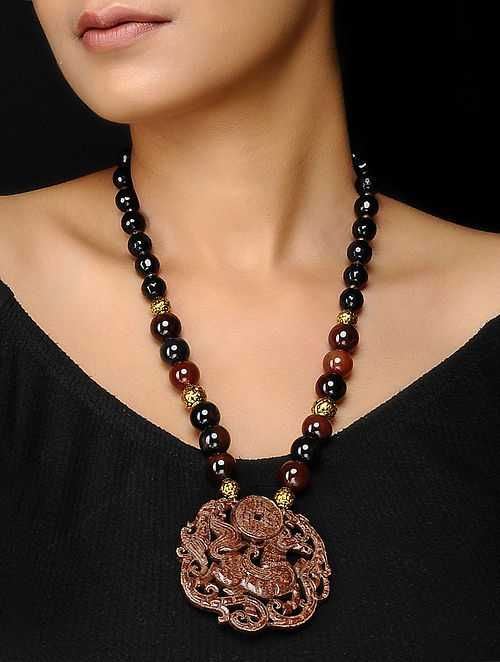 Onyx and Jade Beaded Necklace