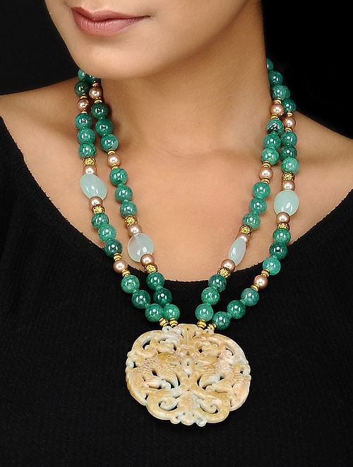 Onyx and Chalcedony Beaded Necklace