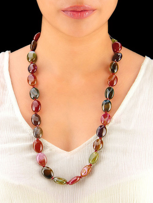 Multi-Colour Onyx Mani Hand Beaded Necklace