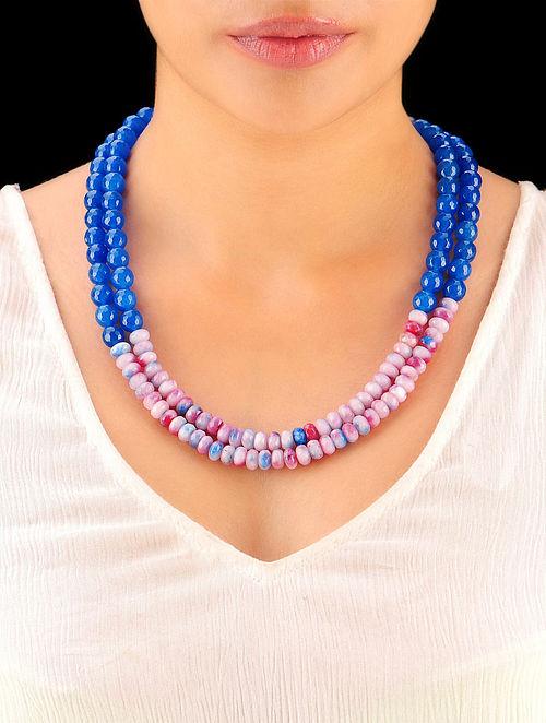 Indigo - Shaded Pink Hand Beaded Necklace