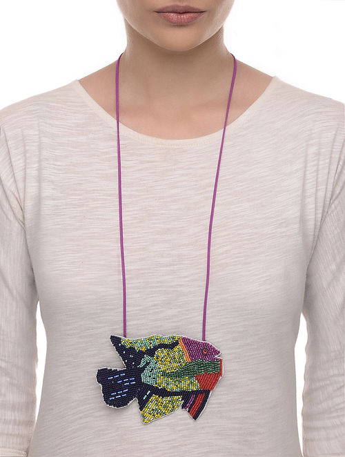 Tava Fry Multicolored Embroidered Fabric Necklace with Bead Work