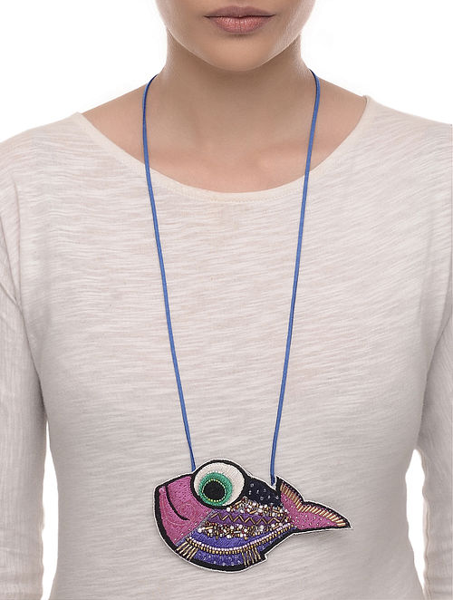 Big Eye Multicolored Embroidered Fabric Necklace with Bead Work