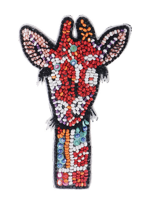 Zarafa Multicolored Embroidered Fabric Brooch with Bead Work
