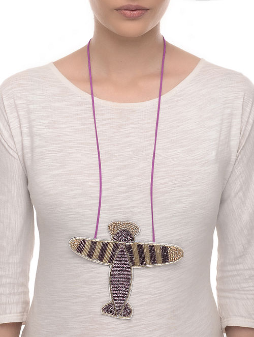 Udan Brown-Beige Hand Embroidered Fabric Necklace with Bead Work