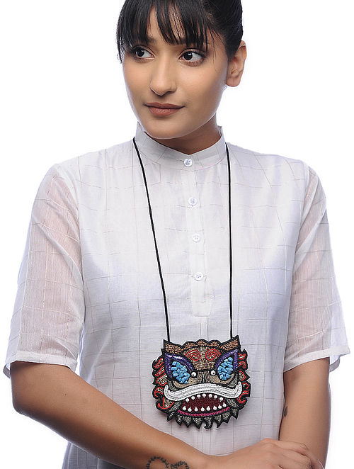 Agni Multicolored Embroidered Fabric Necklace with Bead Work