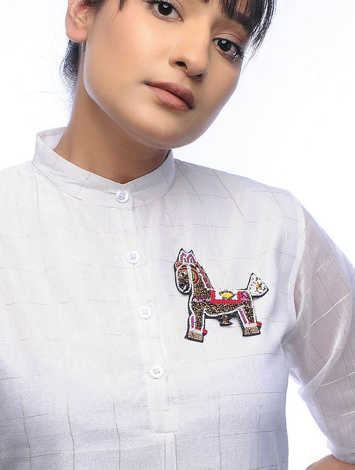 Ghodi Multicolored Embroidered Fabric Brooch with Bead Work