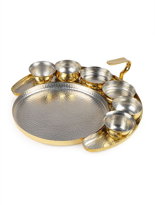 Dull Golden Crescent Thaali Set by Anantaya 14.4in x 12.2in x 4.6in