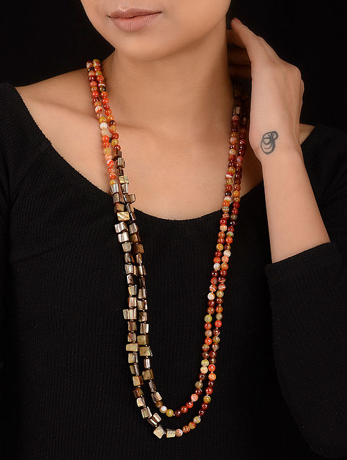 Multicolored Mother of Pearl and Agate Beaded Necklace