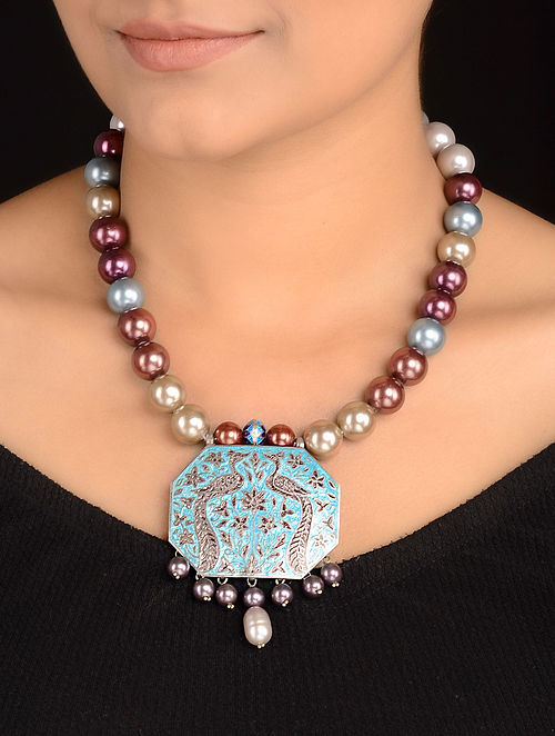4e070c0ae057f5 Buy Pearl Beaded Enameled Silver Necklace Online at Jaypore.com