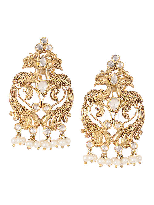 9efe5d465 Buy Kundan-inspired Gold Tone Silver Earrings with Peacock Design ...