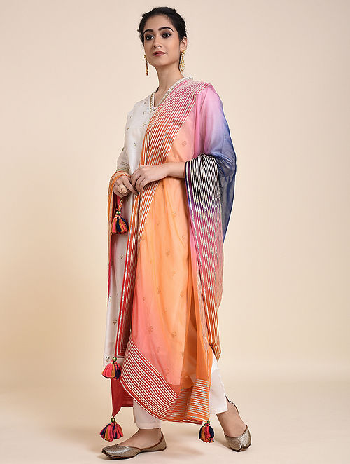 Orange-Blue Chiffon Ombre Dupatta with Gota and Tassels
