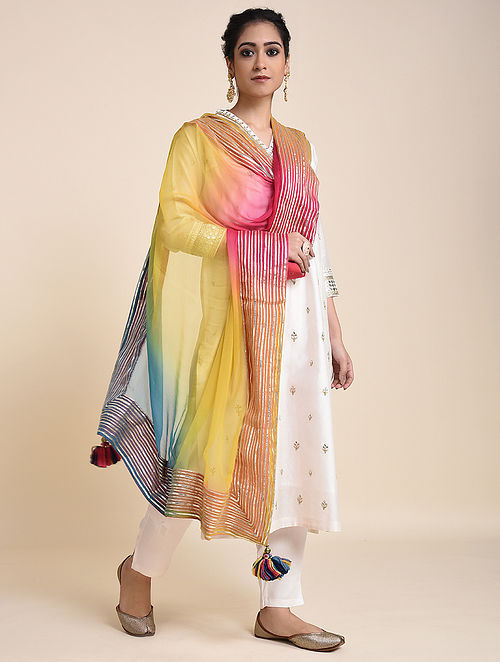 Pink-Yellow Chiffon Ombre Dupatta with Gota and Tassels