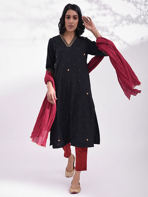 ASHLESHA - Black Hand Embroidered Cotton Kurta with Sequin Work