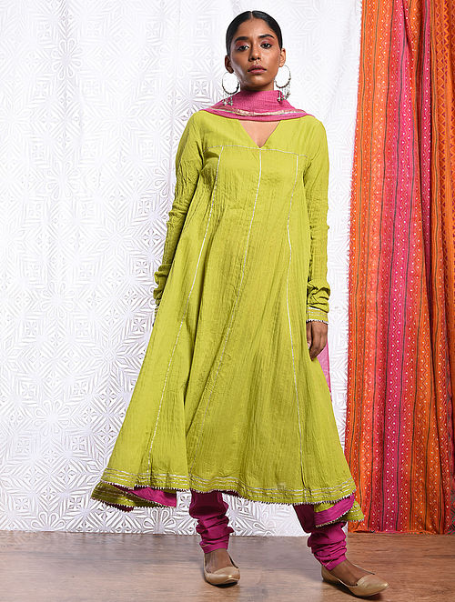 MIHR-UN-NISA - Green Cotton Mul Crinkled Kalidar Kurta with Gota