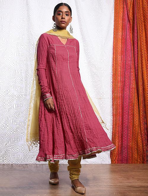ROSHANARA - Pink Cotton Mul Crinkled Kalidar Kurta with Gota