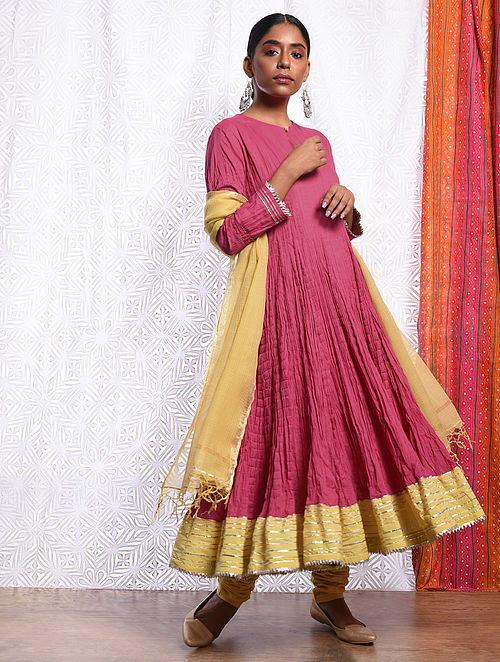 NUR-UN-NISA - Pink Cotton Mul Crinkled Kalidar Kurta with Gota