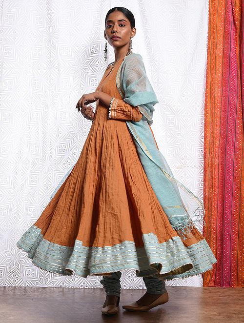 NUR JAHAN - Orange Cotton Mul Crinkled Kalidar Kurta with Gota
