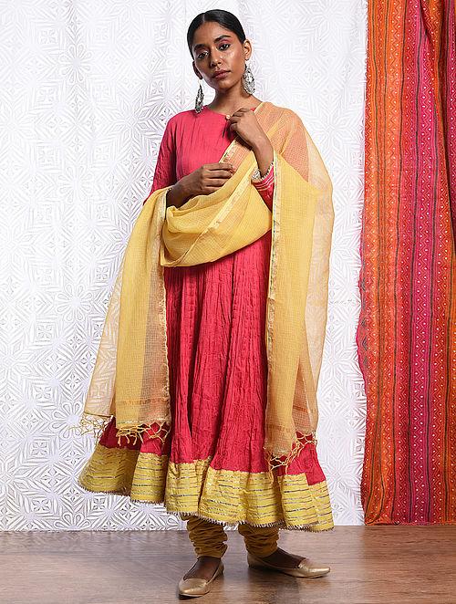 GULRUKH - Yellow Kota Cotton Dupatta with Gota