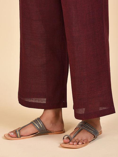 Maroon Elasticated Waist Cotton Pants