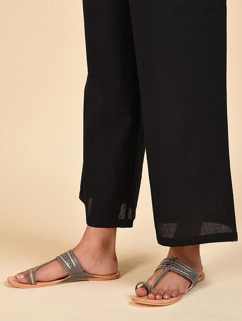 Black Elasticated Waist Cotton Pants