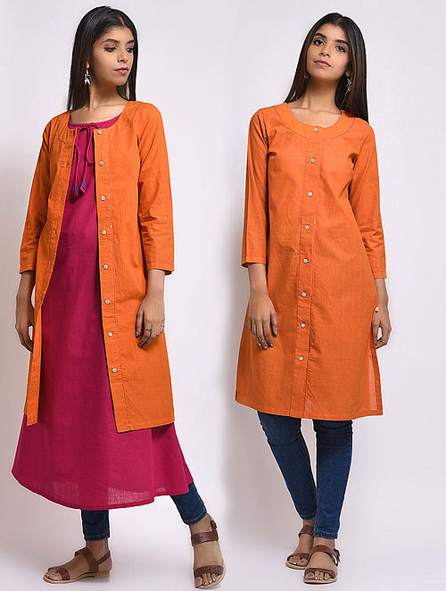 Mustard Front-open Mangalgiri Cotton Kurta cum Jacket