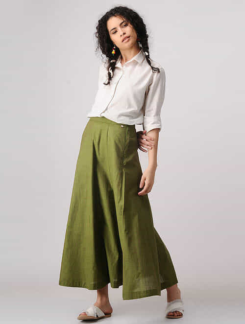 Green Mangalgiri Cotton Paneled Skirt