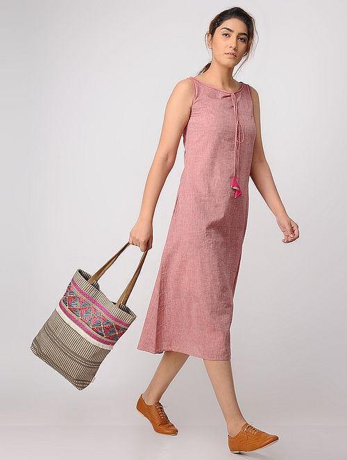 Pink Mangalgiri Cotton Dress with Pockets